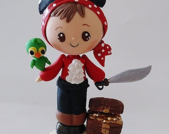Pirate cake topper, boy birthday cake topper, pirate hat, pirate with parrot, pirate chest, cold porcelain keepsake pirate cake topper