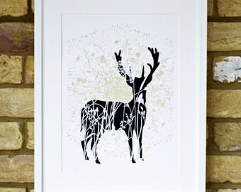 stag screen print, hand printed, limited edition print, deer with wild flowers, black and gold