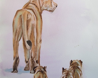 Watercolor of a lioness with her three cubs