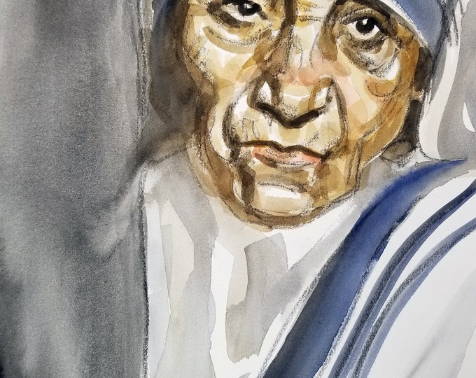 Mother Teresa, 11 x14 inches, watercolor and crayon on cotton paper by Kenney Mencher