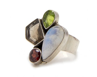 Gemstone ring - Multi stone statement ring - Silver Ring with 4 different gemstones - anniversary gift idea -  gift for her - one of a kind