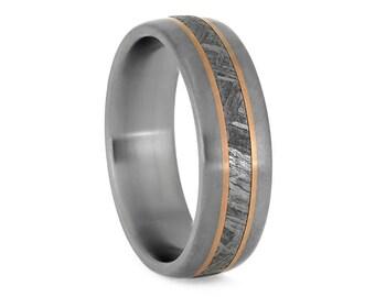 Meteorite Ring With Rose Gold Pinstripes, Matte Titanium Wedding Band, Titanium Ring With Smooth Matte Finish