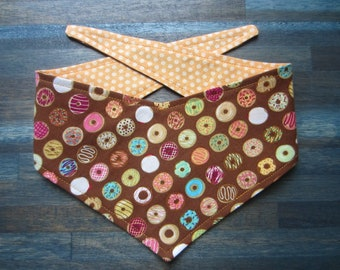 XS reversible tie on dog bandana - Donuts/orange dots Kanine Kerchief