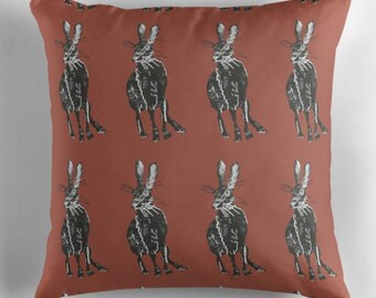Tamar Hare cushion cover, burnt orange