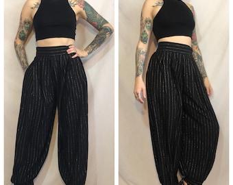 Vintage 1970's Black Harem Pants with Gold Stripes