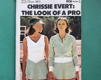 Butterick 4342 Retro Vintage 1970's  Tennis Dress, Bomber Jacket & Briefs, Sportswear, Chris Evert, Sporty, Sewing Pattern Size 16 Bust 97cm