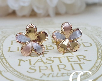 Delicate 9ct Three Colour Gold Cranesbill Flower Stud Earrings