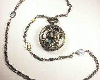 Scarab  Steampunk Opera Length Locket Necklace