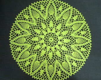 Large Crochet Doily, Green Lace Doily, Pineapple Doily, Cotton Doily, Lace Tablecloth, Table Topper, 15 inches