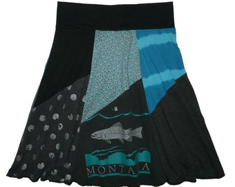Montana Clothing Women's Small Medium Upcycled Hippie Skirt Size 4 6 8 trout t-shirt skirt best selling item Twinkle skirts Twinklewear