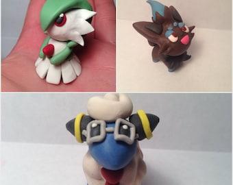 Gardevoir, Shiny Zorua or Mareep polymer clay figures, charm, pokemon, nintendo, pokemon go, anime, manga, kawaii, chibi,