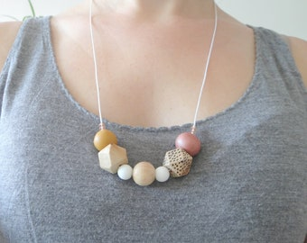 Pink and mustard yellow necklace