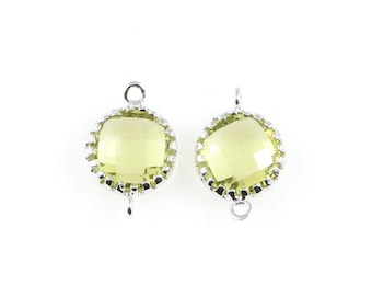 2pcs Apple Faceted Glass Connector in Rhodium, Framed Round Connector / Birthstone / Gems / Peridot / 8mm x 12mm / GAPRH-008-P