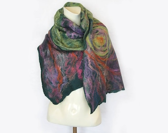 Felted Scarf, Emerald Teal Felt Shawl Scarf, Colorful Spring Scarf, Wool Silk Wrap, Spring Gift For Woman, Inspirational Women Gift