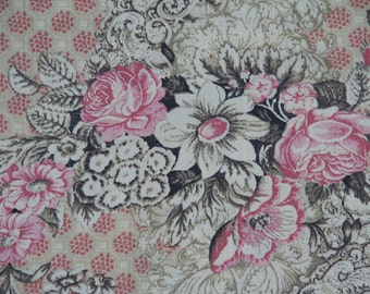 100% cotton fabric, extra wide, coffee, chocolate, dusty pink,  roses, fabric, quilt fabric, quilt backing, quilting, sewing