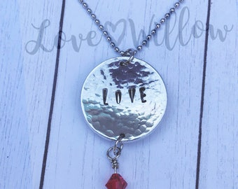 Hand Stamped LOVE Necklace. Anniversary Gift.  Birthday Gift.  Mother's Day