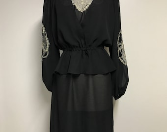 Vintage Black Evening Dress with Separate Peplum Blouse and Silver Lace Window Detail/ Buttons Neck/FREE SHIPPING