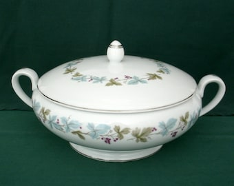 Vintage Brand Fine China Footed 1.5 Quart Serving Bowl With Lid