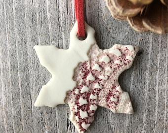Porcelain Christmas decoration, porcelain snowflake, handmade porcelain Christmas ornament, Christmas tree decoration, stocking filler