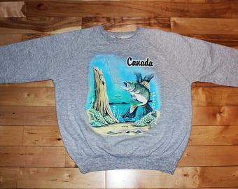 1980's / 1990's Canada Fishing Crewneck Sweater - MEDIUM