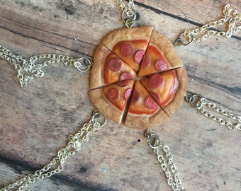 Pizza Friendship Charm Necklace (Set of 6)