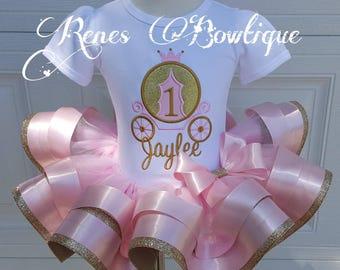 Princess Carriage Pink and Gold Ribbon Tutu Set