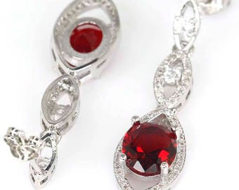 Sterling Silver Blood Ruby Gemstone Drop Earrings With AAA CZ Accents