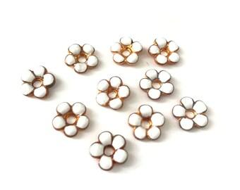 6 Antique French Milk White Enamel Flower Findings, 10mm, Enamel on Copper, Antique French Findings // Enamel Flower Finding
