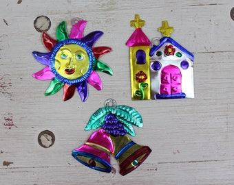 Handmade Mexican Tin Ornaments (Set of 3) Vintage Christmas Tree-Fiesta-Xmas-Gift Ideas-Holiday-Southwest-Coco-Amor-Folk Art-Handcrafted 203