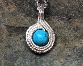 Turquoise howlite and tarnish resistant silver plated pendant