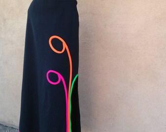 Vintage 1970s Skirt Maxi Black Boho Granny Hippie 70s Midi W30