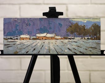 Winter Plein Air Landscape Oil Painting Winter Mountains Fields House Wall paintings colorful Country Winter Painting Nature Small Landscape