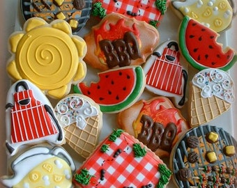 BBQ cookies - father's day cookies - decorated cookies - cookie favors - summer cookies - BBQ party dessert - father's day gifts