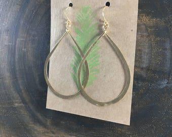 Large Teardrop Hammered Hoops, Gold Hoop Earrings, Handmade Jewelry, Minimalist, Everyday Jewelry