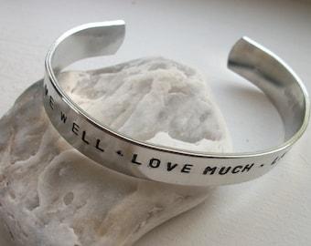 Live Well - Hand Stamped Half Inch Aluminum Cuff Bracelet