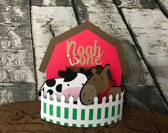 Farm Birthday Centerpiece or Cake Topper First Birthday Second Birthday Happy birthday Centerpiece Cow Horse Barn Birthday Cake Topper or Ce