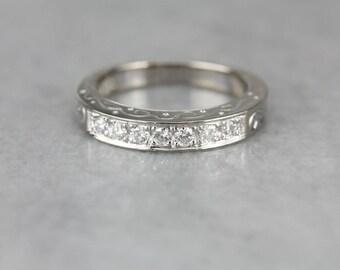 Engraved Diamond White Gold Wedding Band 2XNYHZ-P