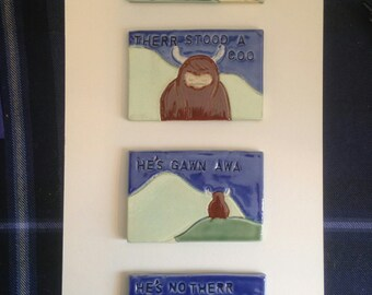 A Mooving Tale: Highland Cow Stoneware Hand Carved Ceramic Tile Wall Hanging Poem Framed and Mounted