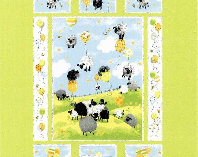 SUSYBEE, LEWES BALLOONS, Children's Fabric, Blue Lewes Balloons Cotton Fabric Panel by Susybee 36 x 44 inches