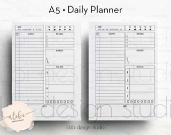 Daily Planner, A5 Planner Inserts, Daily Schedule, To Do List, Printable Planner, Daily Organizer, Weekly Planner, Hourly Planner, To Do