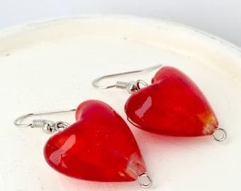 Red heart dangle earrings - Puffy red heart earrings  - Red dangle earrings