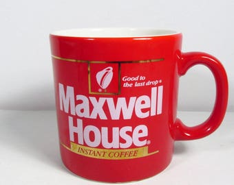 Maxwell House Instant Coffee made in England FTC red white coffee mug