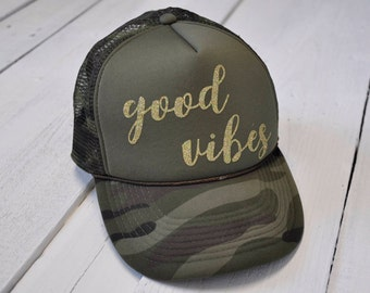 Good Vibes, glitter camo trucker hat