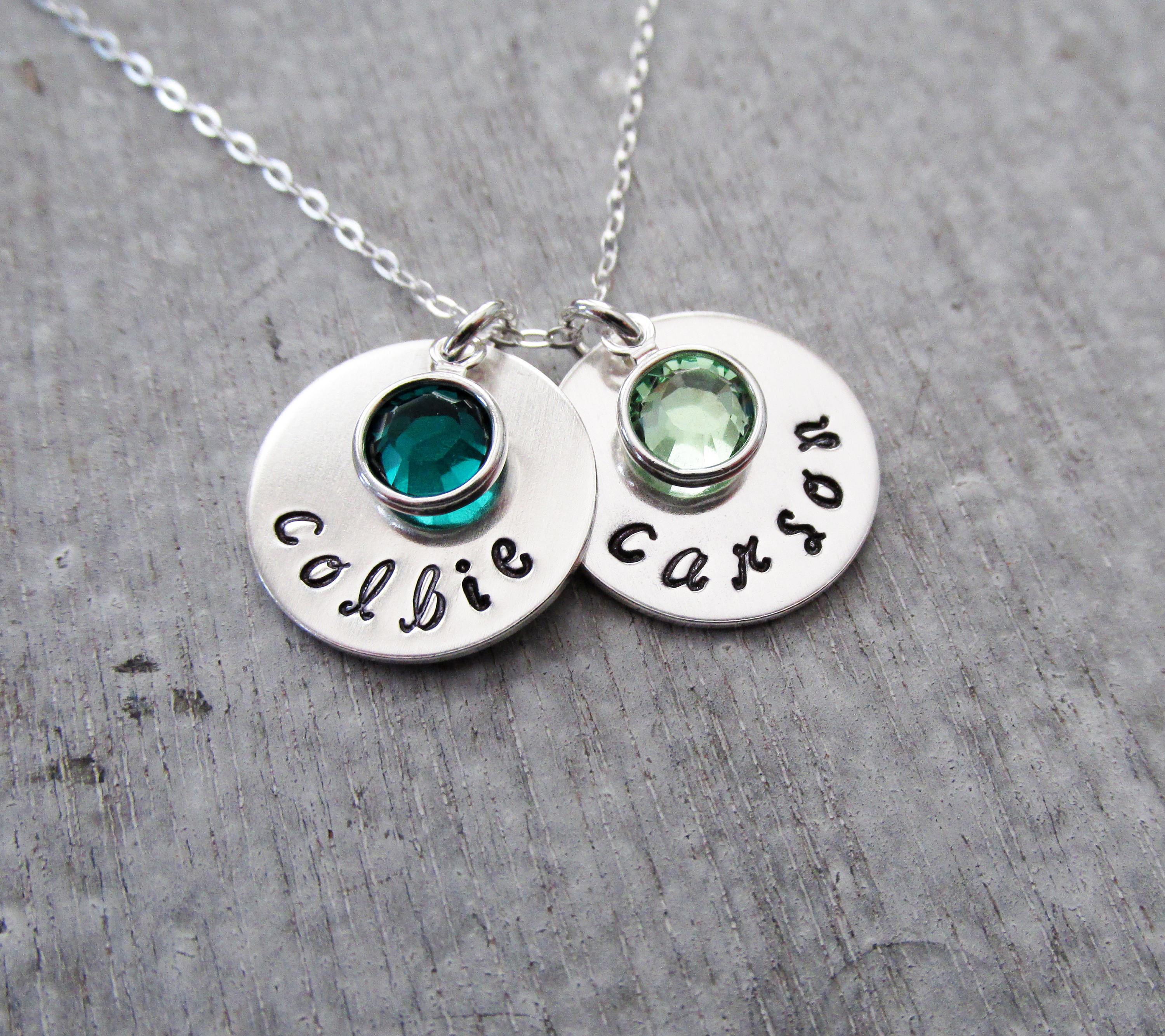 by a custom designmejewelry personalized buy made mother necklace two of hand stamped