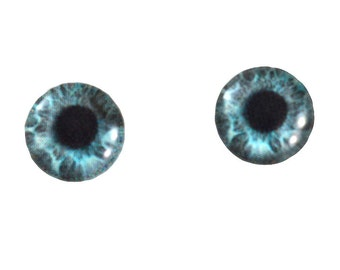 10mm Mint Blue Human Glass Eye Cabochons - Taxidermy Eyes for Doll or Jewelry Making - Set of 2