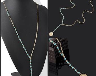 Boho Turquoise and Gold Medallion Lariat Necklace