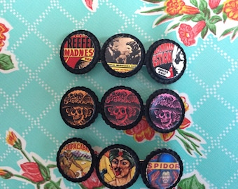 Vintage bottle cap barrette...sideshow, reefer madness, day of the dead
