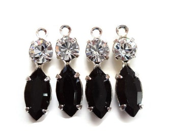 Swarovski Crystal Double Stone Dangle in Clear and Jet Black