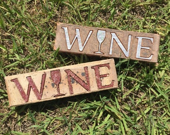 Wine Engraved Repurposed Brick