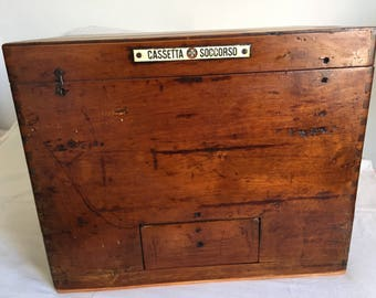 Vintage First aid wooden box with plaque